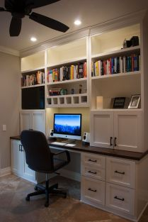 Awesome Built In Cabinet and Desk for Home Office Inspirations 5