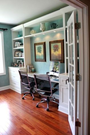 Awesome Built In Cabinet and Desk for Home Office Inspirations 68