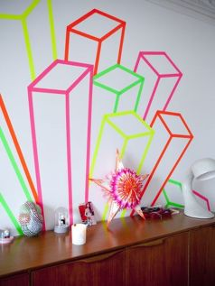 Inspiring Creative DIY Tape Mural for Wall Decor 23