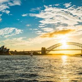 Harbour bridge in the sunset