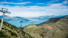 Christchurch gondola take us 945 m airway up to the top of the Mt Cavendish, Port Hills, 1500 m above the sea level.