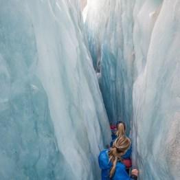 Tight glacier crack