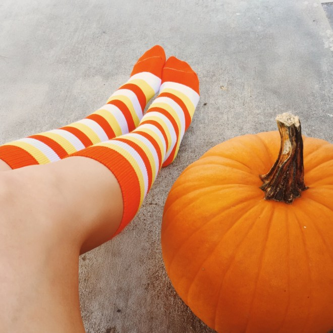 Halloween, halloween socks, knee highs, candy corn, pumpkin