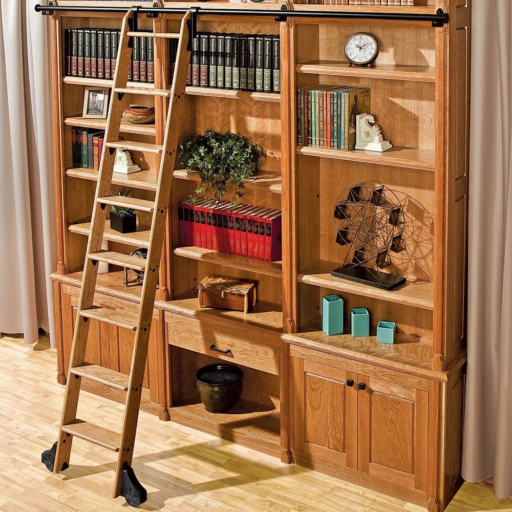 rockler classic vintage rolling library ladder track hardware satin black