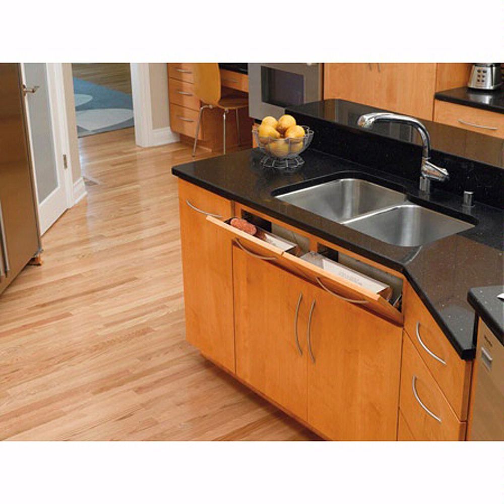 sink front stainless steel tip out tray rev a shelf 6581 series