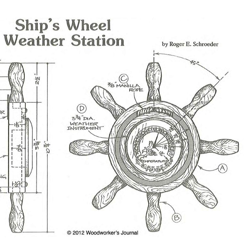 Woodworker's Journal Ship's Wheel Weather Station Plan