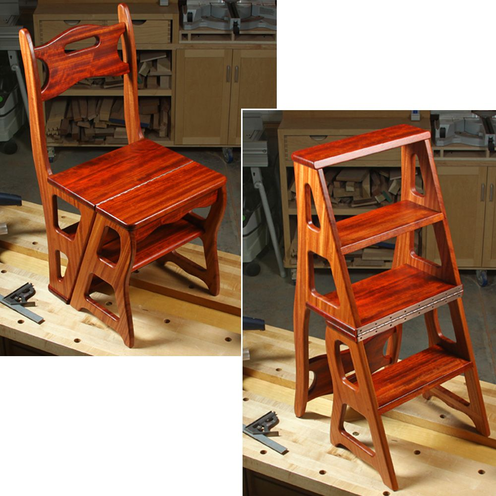 wooden step stool chair graco high elephant woodworker s journal convertible plan rockler downloadable tap to expand