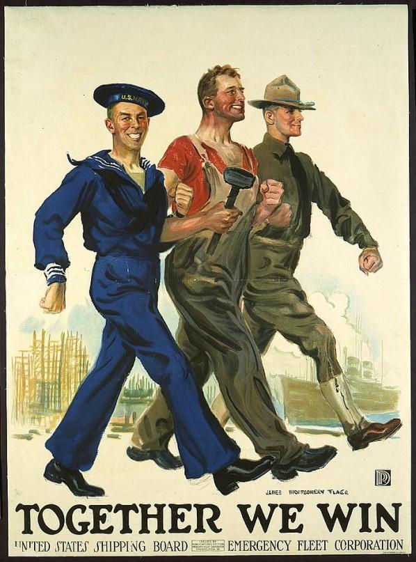 Propaganda norte-americana para a Segunda Guerra Mundial. O Mêcanico e o Marinheiro estão de braços dados, repararam?
