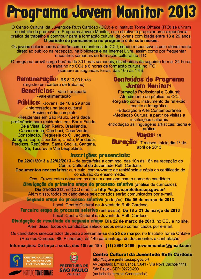 Programa Jovem Monitor 2013
