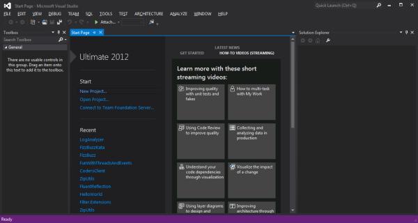 Página Inicial Visual Studio 2012 Ultimate Edition