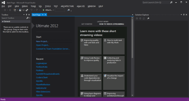 Página Inicial Visual Studio 2012 Ultimate Edition