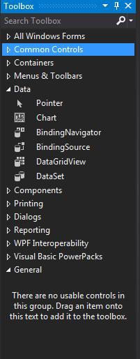 Imagem 9 - Toolbox(Caixa de ferramentas) onde podemos encontrar os controles disponíveis para nossa janela.