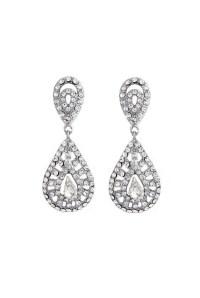 Silver Gatsby Earrings - 1920s Drop Earrings