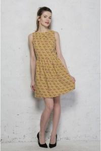 70s Print Prom Dress - Tree Print Dress - Printed Prom