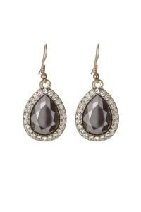 Black Teardrop Earrings - 1930s Style Jewellery - Diamante ...