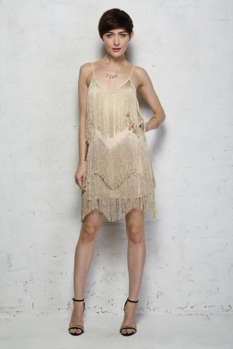 Gold Fringed Flapper Dress - Gold Tassel Dress