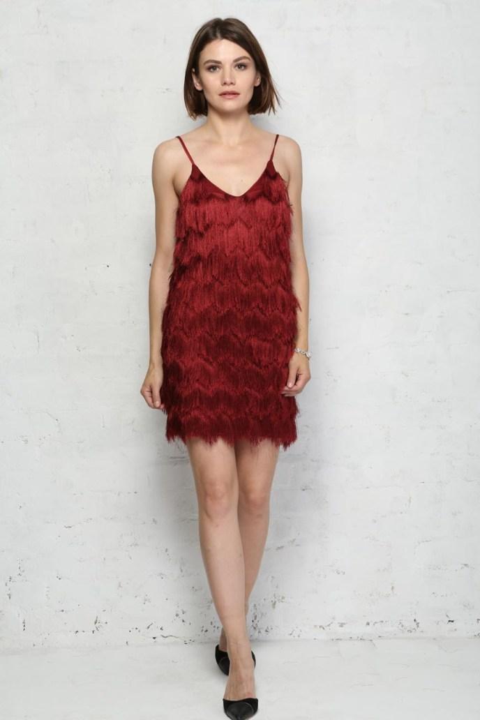 Red Fringed Flapper Dress - 1920s Style Tassel Dress