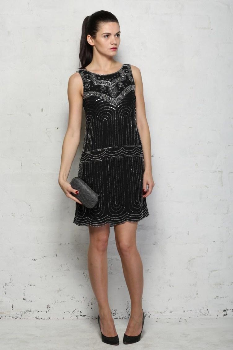 Black Deco Flapper Dress - Beaded Shift Dress