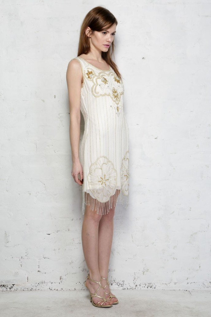 Cream and Gold Flapper Dress - White Gatsby Dress