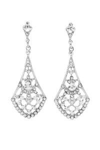 Gatsby Fan Earrings - Silver Diamante Earrings