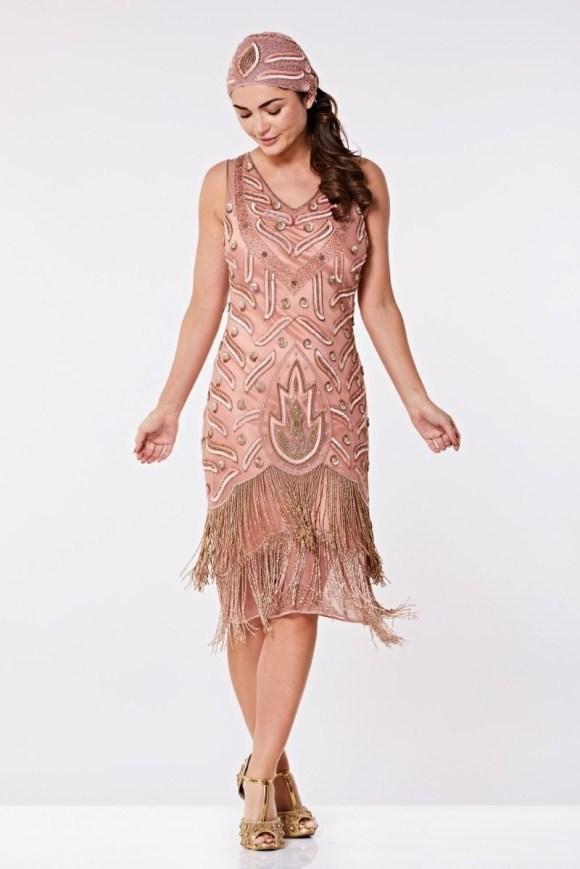 Rose Flapper Dress - Pink Fringed Dress