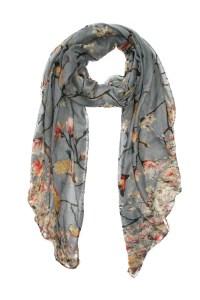 Grey Bird Print Scarf - Floral Print Scarves