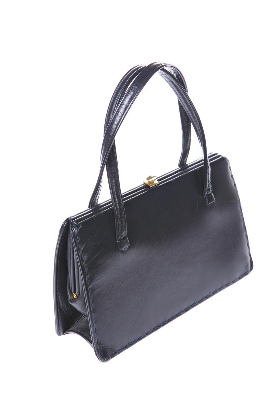 Vintage 1950s Handbag  Black Tote Bag