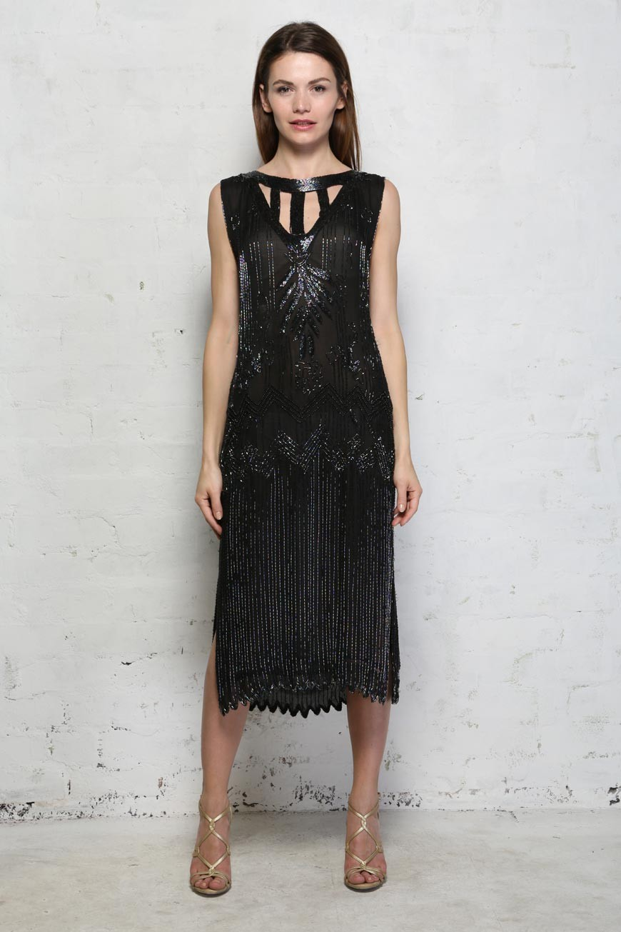 Vintage Black Flapper Dress - Frank Usher Beaded Dress ...