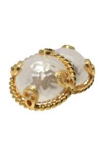 Vintage Large Pearl Earrings - 1980s Gold Clip On Earrings ...