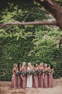 Dusky Purple & Pink Mismatched Bridesmaids Dresses