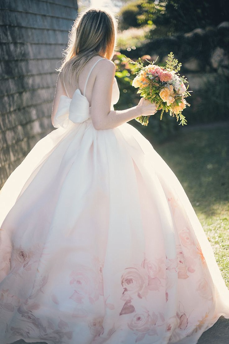 Fresh And Modern Use Of Floral Print For Wedding Inspiration With Floral Print Wedding Gowns And