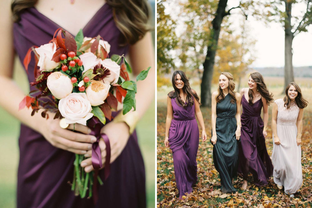 Autumn Bridesmaid Trends including Burgundy  Forest Green Dresses