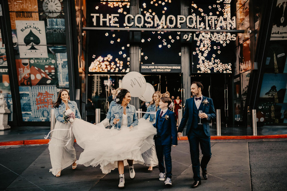 Las Vegas Wedding at The Cosmopolitan with Personalised Denim Jackets