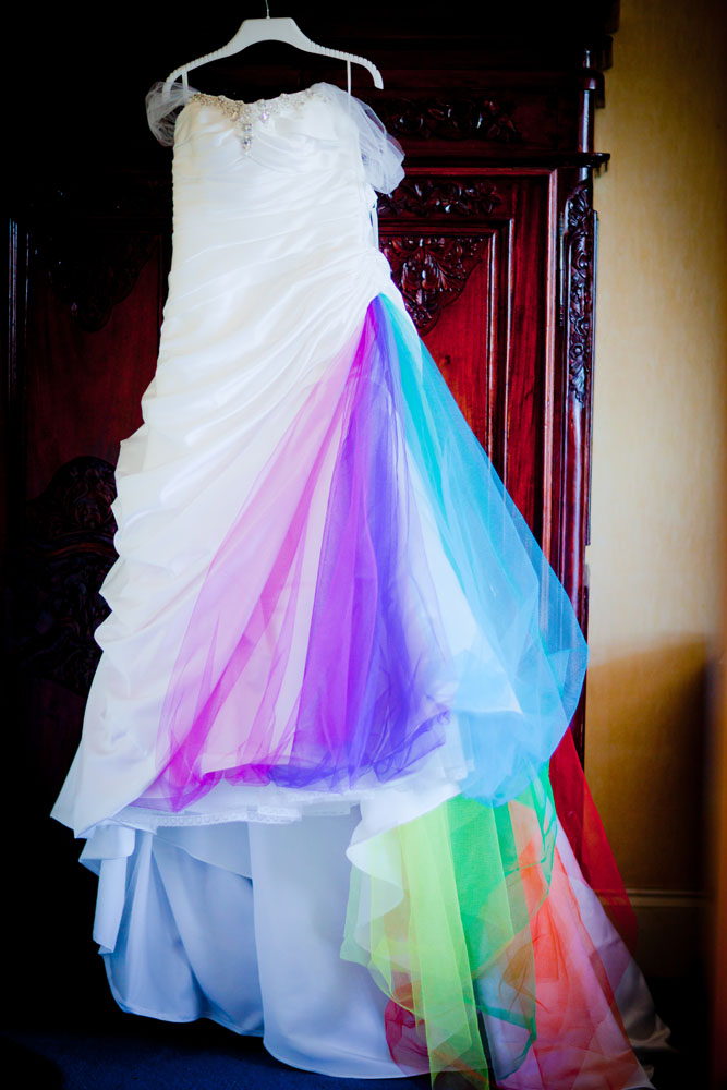 Rainbow Fairy Wedding with the Bride Wearing Wings  Rock