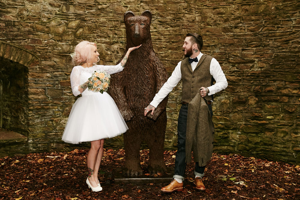 Autumnal Halloween Wedding at a Botanical Gardens  Rock n
