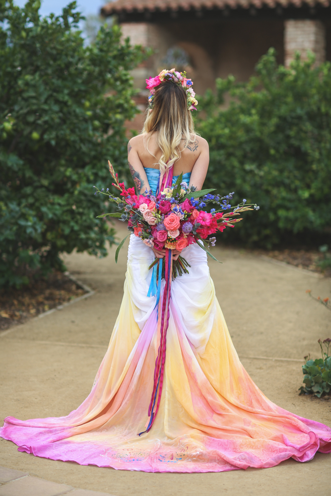 Dia De Los Muertos Inspired Painted Wedding Dress  Rock n
