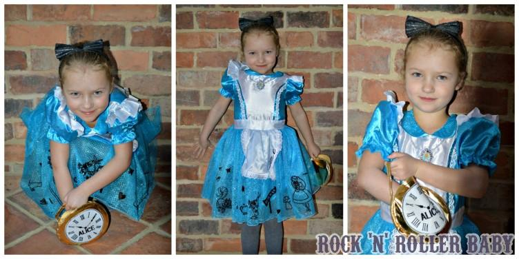 A very pretty 'Alice' is pleased as punch with her dress, Alice band and bag and grew very tiny before growing very tall for the pictures!