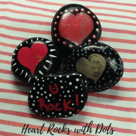 Heart Rocks with Dots