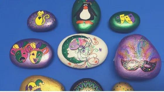 mardi gras painted rocks