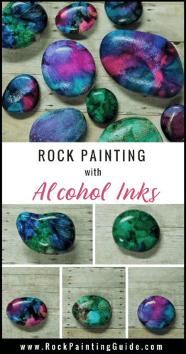 alcohol inks on rocks