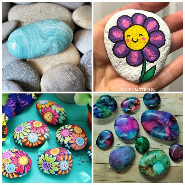 summer rock painting ideas collage 5