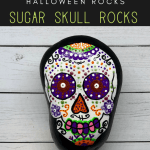 Copy of autumn leaf rocks pin - Sugar Skull Rock Painting for Beginners