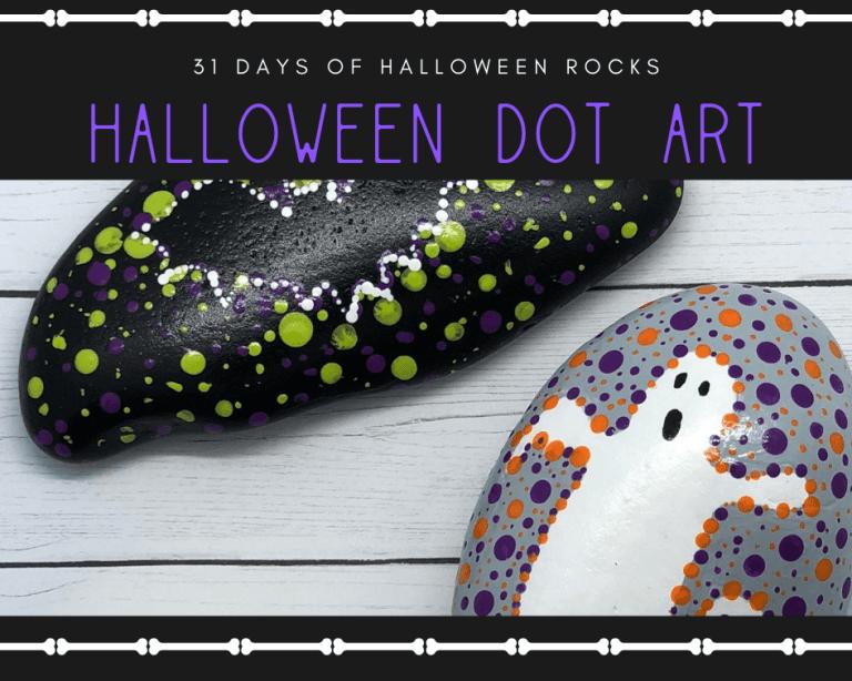 halloween bat and ghost dot art rocks
