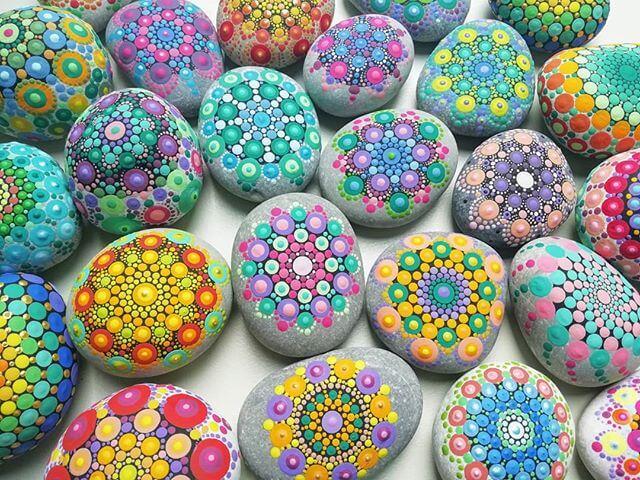 color mandala stones