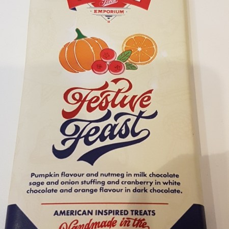 Image of a bar of Stateside Chocolate Festive Feast. Christmas dinner in a chocolate bar!