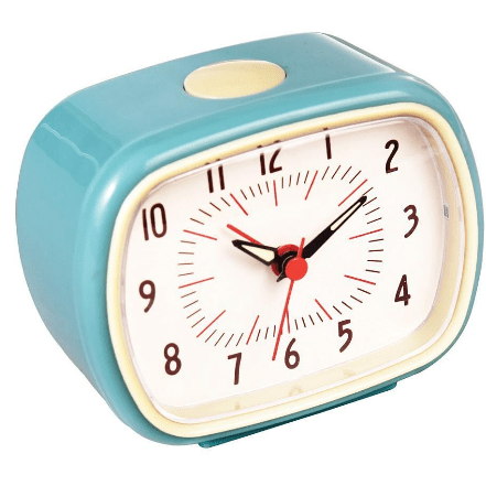 Image of the retro blue alarm clock. Compact and battery powered.