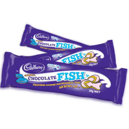 Image of a Cadbury Chocolate Fish a chewy marshamallow coated in milk chocolate shaped like a fish from New Zealand