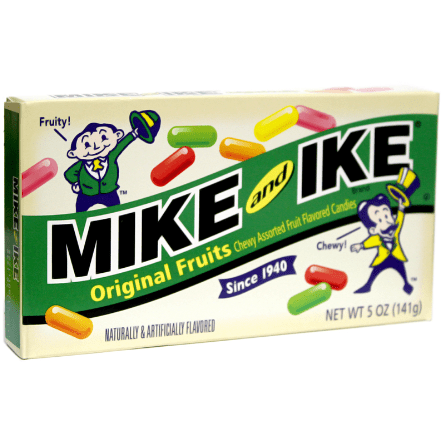 Image of a box of mike and ike original retro american candies.