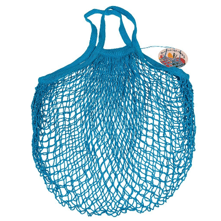 Image of a Blue String Shopping Bag. Folds up small.