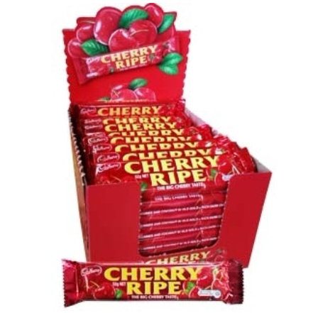 Image of a box of Cherry Ripe bars. Cherries in moist coconut covered in dark chocolate from Australia